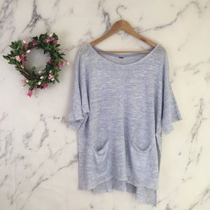 Free People Linen High Low Hem Sweater